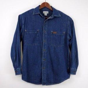 Carhartt Blue Denim Button Up Shirt Mens Medium